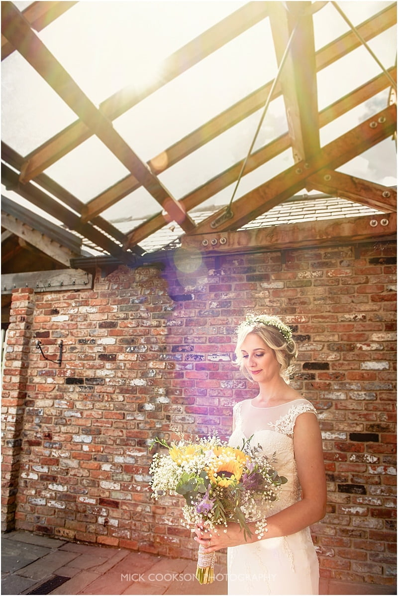 happy bride and sun flare