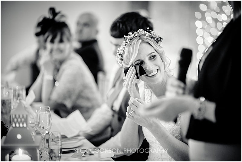 emotional bride at charnock farm