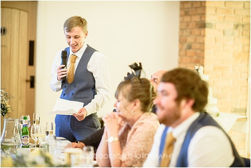 best man speaking at a charnock farm wedding