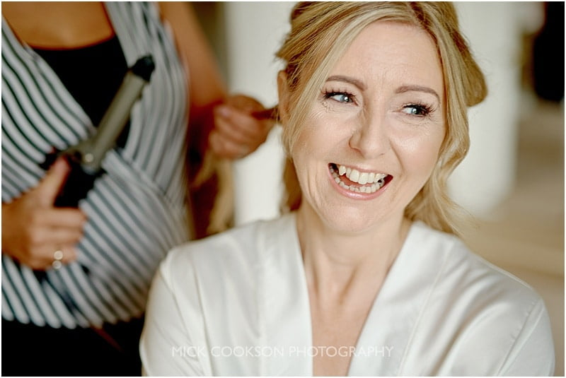 laughing bride at her colshaw hall wedding