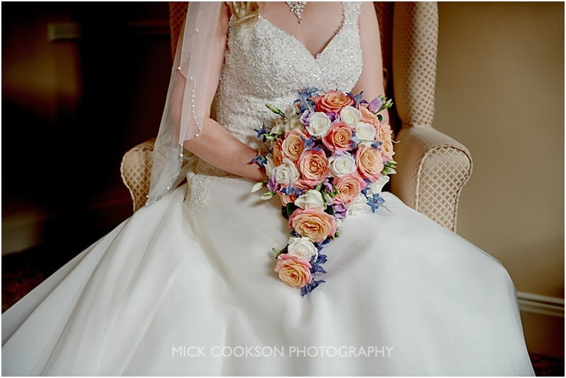 wedding dress and flowers detail
