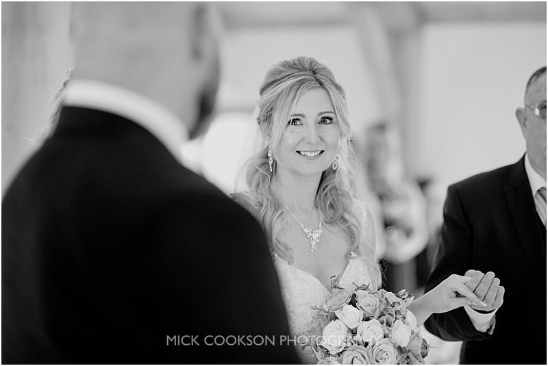 bride looks lovingly at her husband to be
