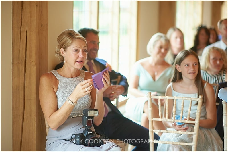 emotional wedding guests at colshaw hall