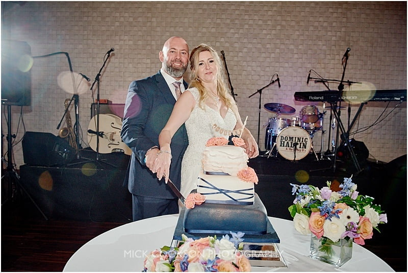 cake cut at a colshaw hall wedding
