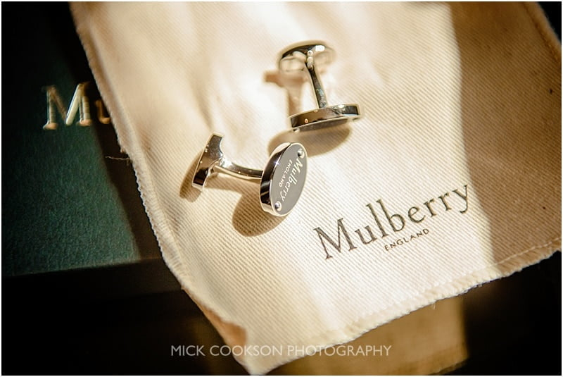 mulberry cufflinks for the groom
