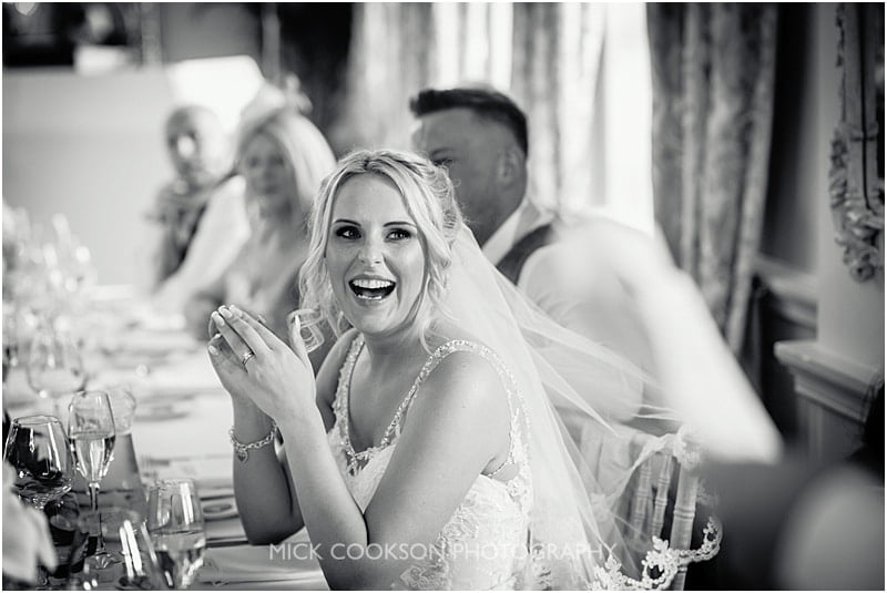 very happy bride at eaves hall