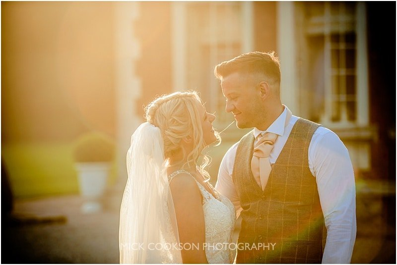 bride and groom sunlight photo