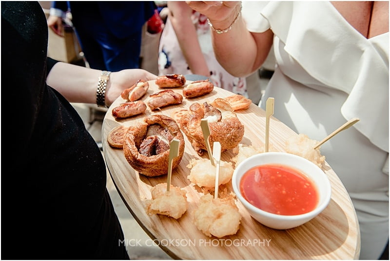 canapes at a mitton hall wedding