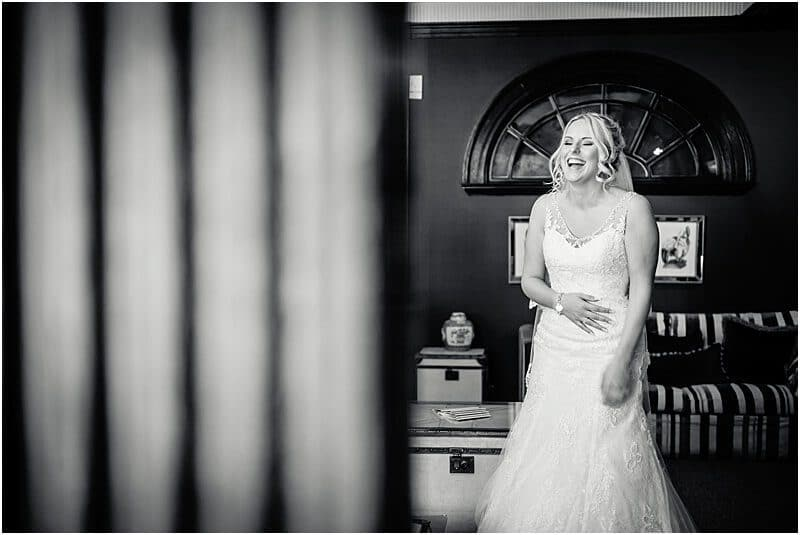 happy bride wedding photo at eaves hall