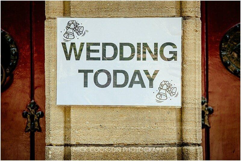 wedding sign at church