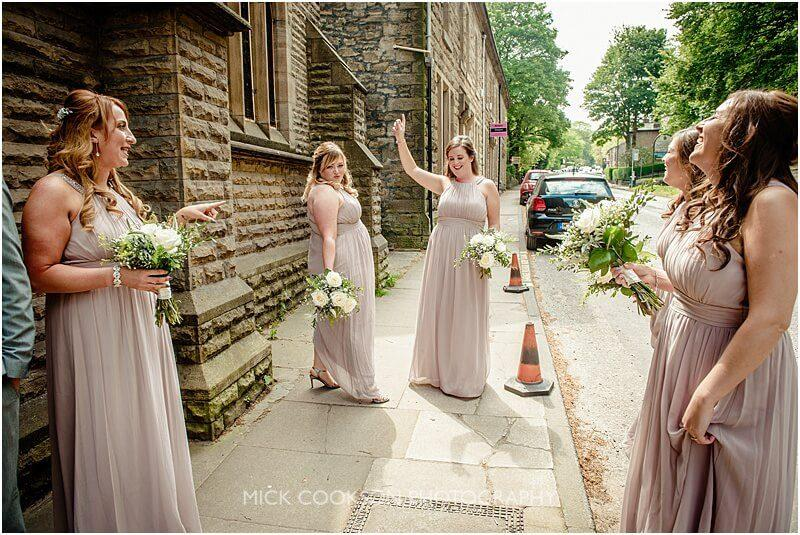 bridesmaids practising their walk down the aisle