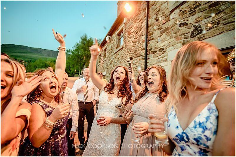 wedding guests dancing outside the fishermans retreat