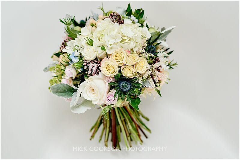 stunning wedding bouquet at king street townhouse taken by manchester wedding photographer mick cookson