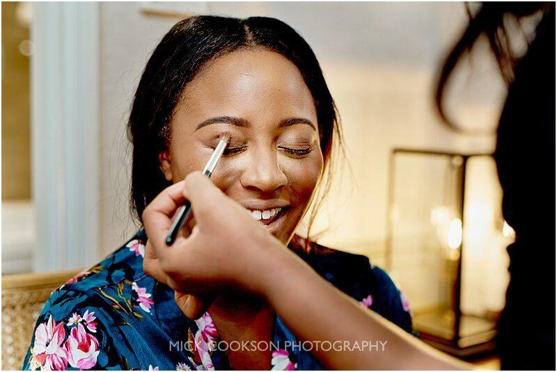 afro caribbean bride getting ready at king street townhouse