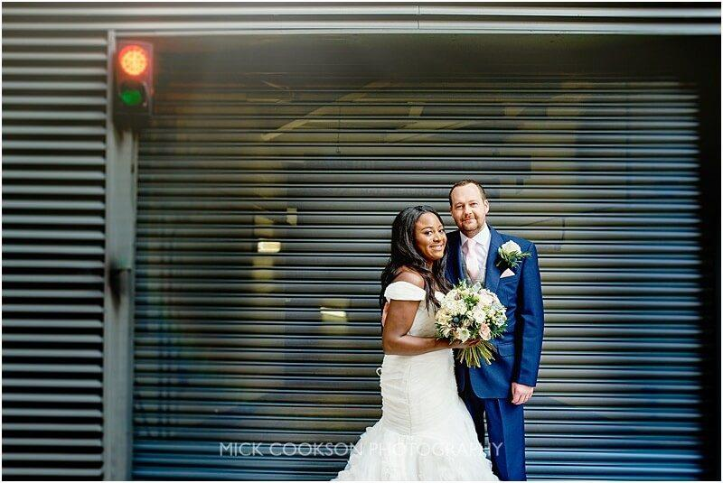 bride and groom wedding photo in manchester by wedding photographer mick cookson