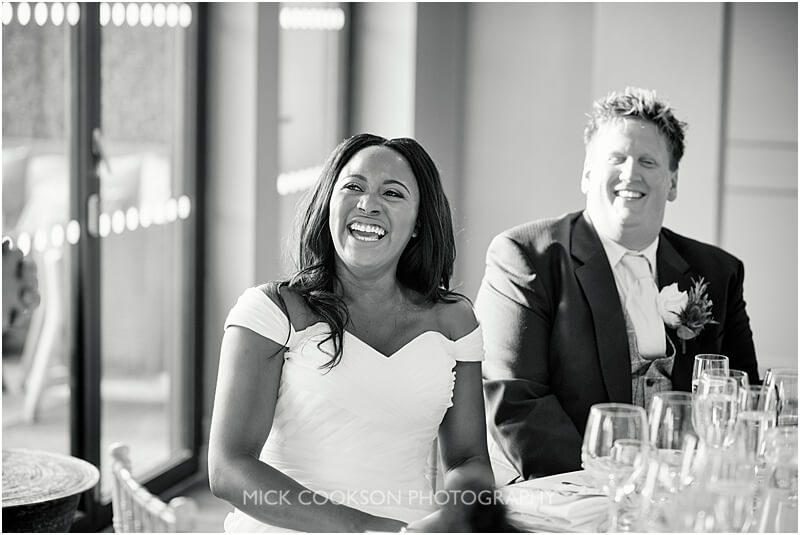 smiling bride during the speeches at a king street townhouse wedding