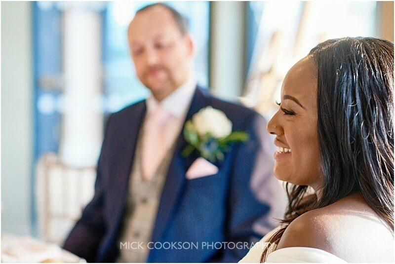 happy bride at at a king street townhouse wedding