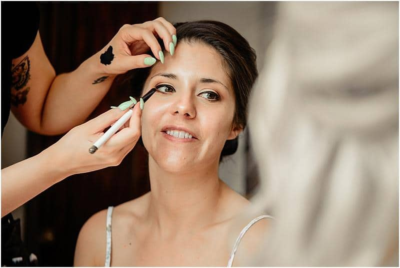 stunning bride getting ready for her wedding