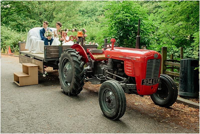 bride and groom on a tractor