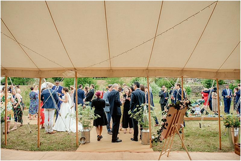 wedding guests at a marquee wedding