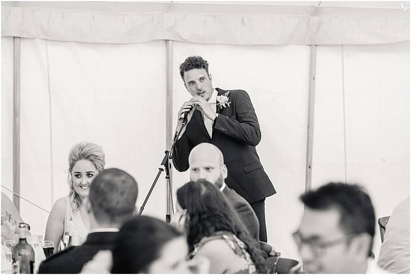 mc at a marquee wedding