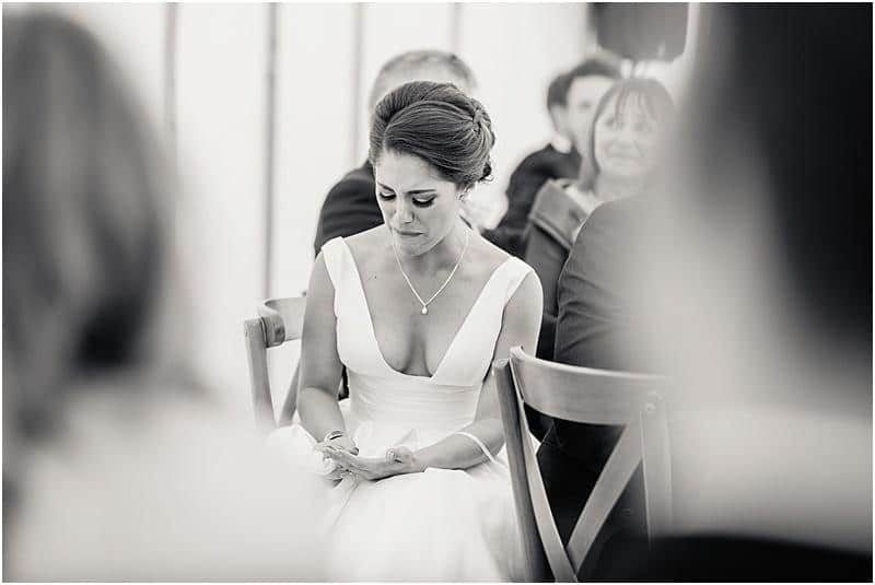 emotional bride at her marquee wedding