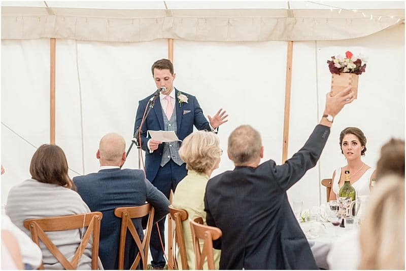 groom speech at a marquee wedding