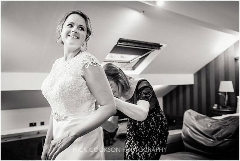 excited bride at gibbon bridge wedding venue
