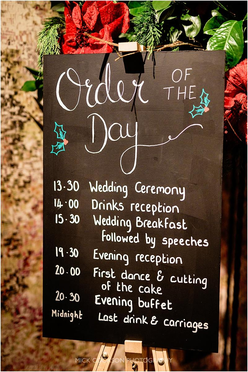 order of the day at a wedding