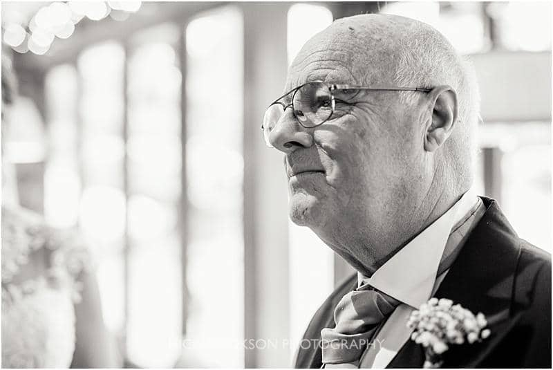 proud father of the bride at a gibbon bridge winter wedding