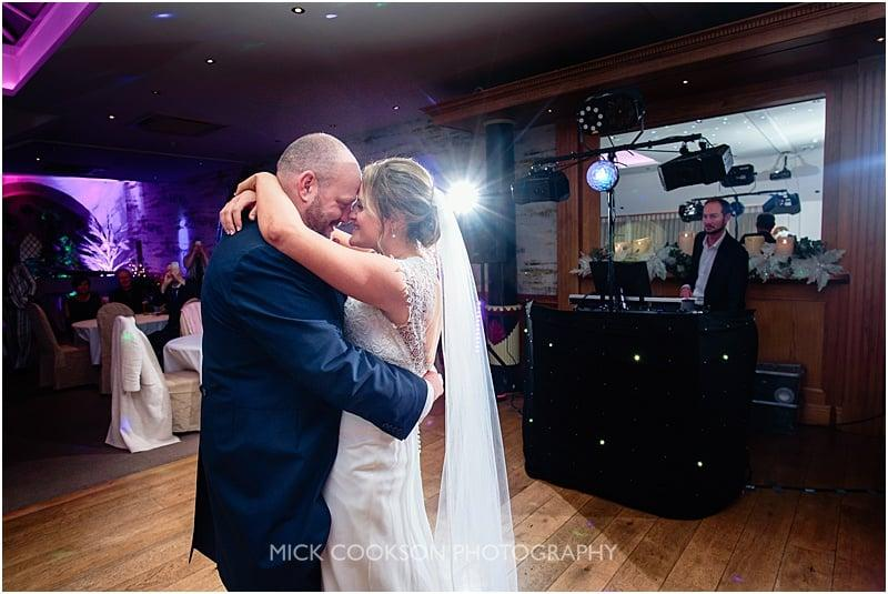 first dance at at a gibbon bridge winter wedding
