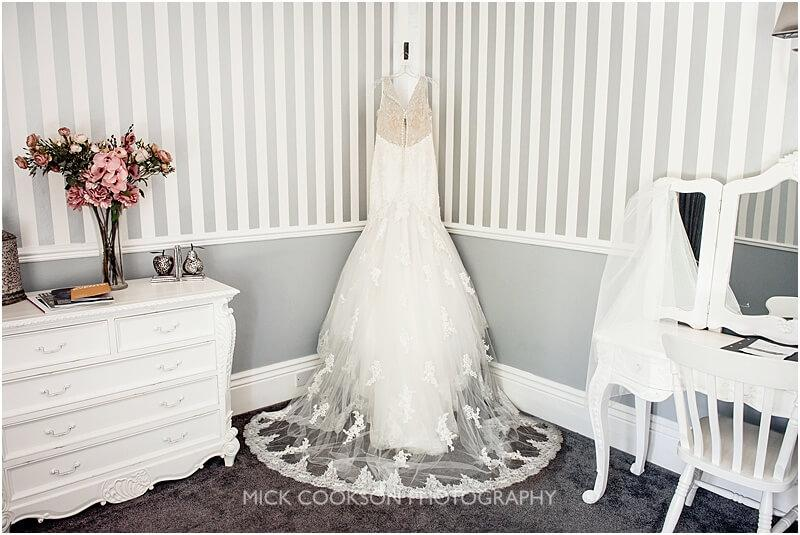 wedding dress in the bridal room