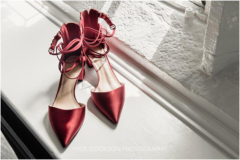red wedding shoes at stirk house