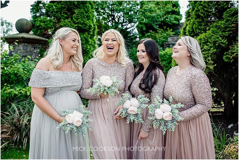 happy bridesmaids at a stirk house wedding