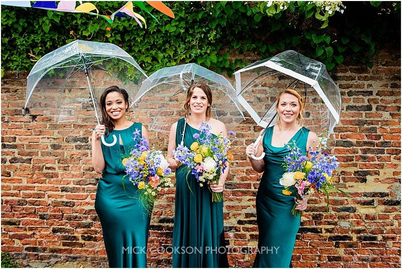 bridesmaid photo in the rain