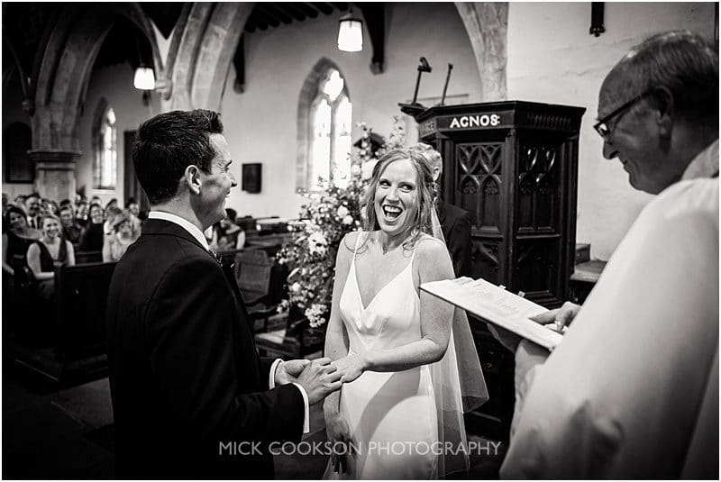 excited bride during the vows