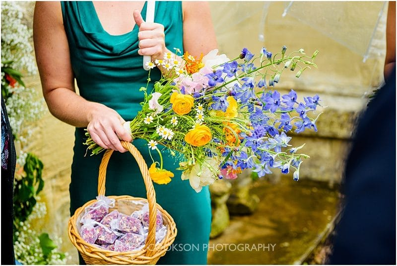bridesmaid flowers and confetti