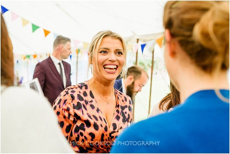 wedding guests at a marquee wedding in york
