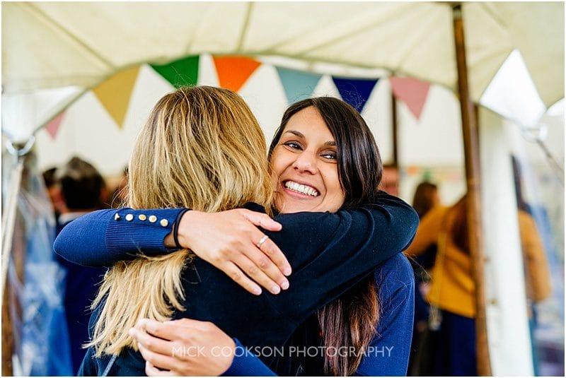 hugs at a marquee wedding in york