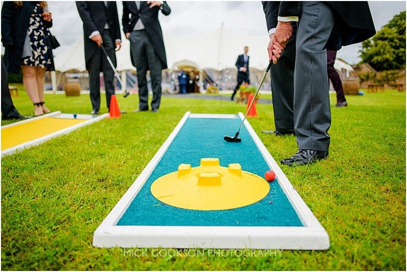 crazy golf at a marquee wedding in york