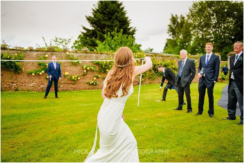 bride playing games at a marquee wedding in york