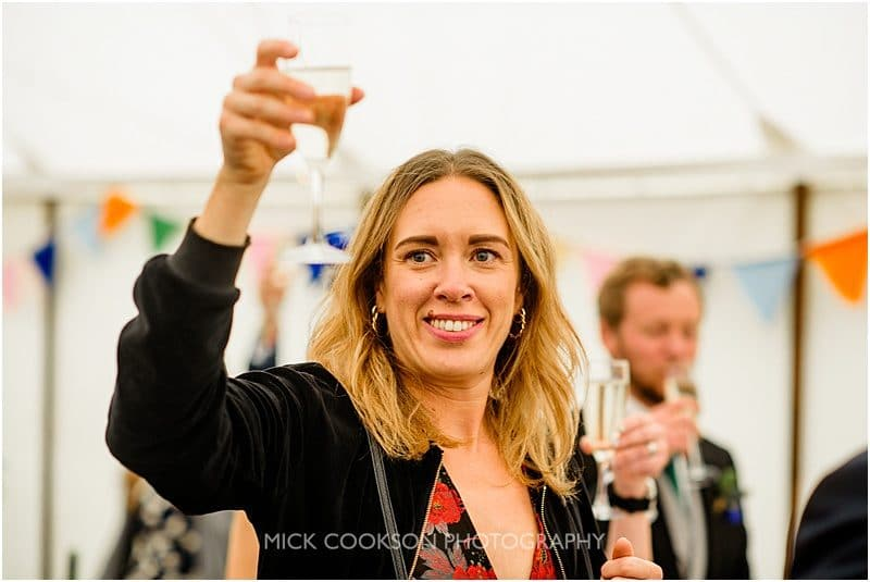 wedding toasts at a marquee wedding in york