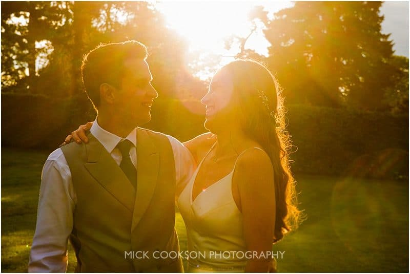 sunset photo at a marquee wedding in york