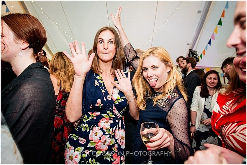 wedding guests having fun at a marquee wedding in york