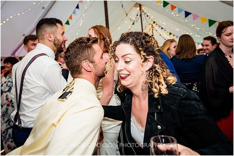 happy people at a marquee wedding in york