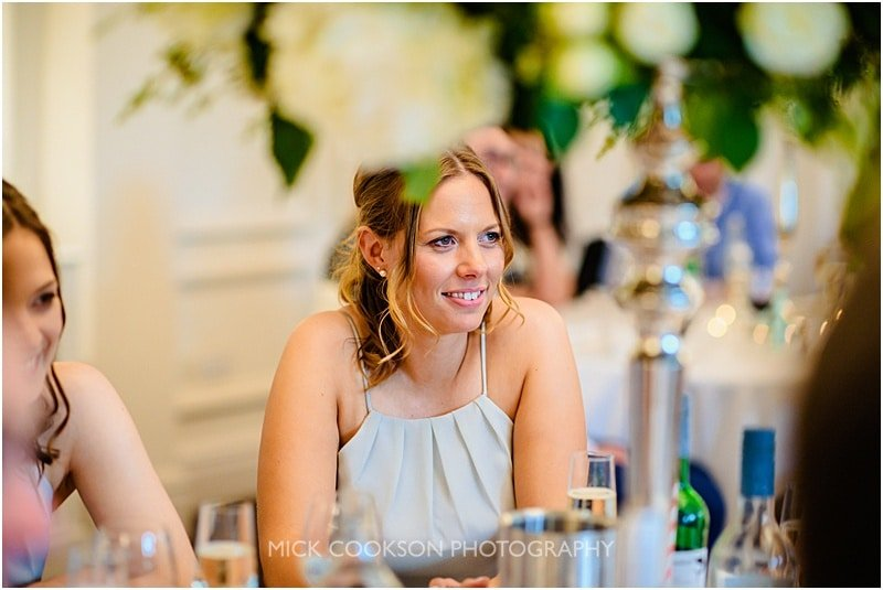 bridesmaid during the wedding speeches at ashfield house
