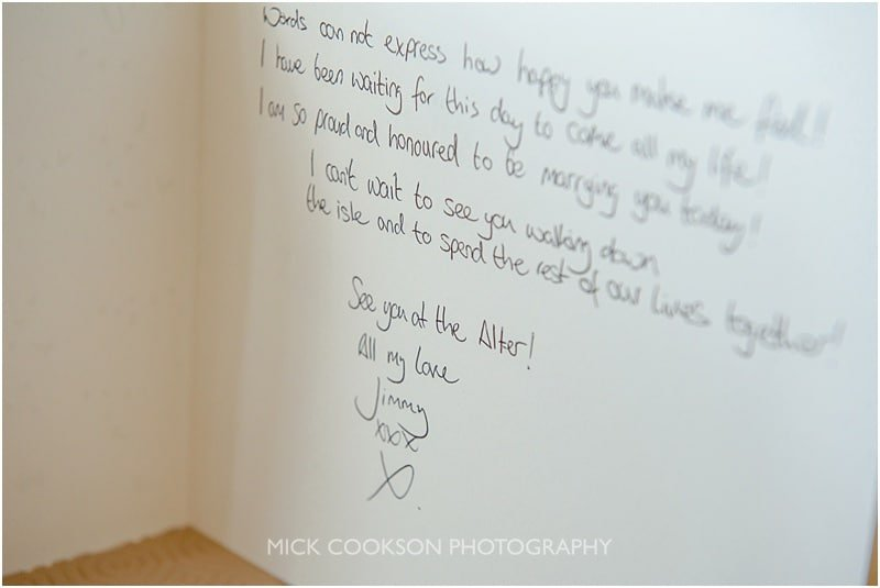 hand written card to the bride