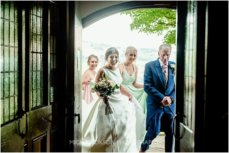 bridal party at the church door