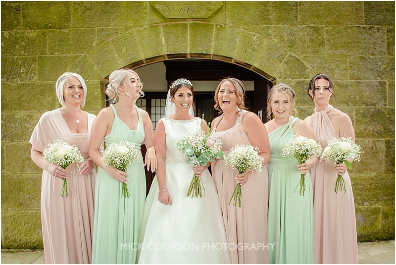 photo of bridesmaids laughing