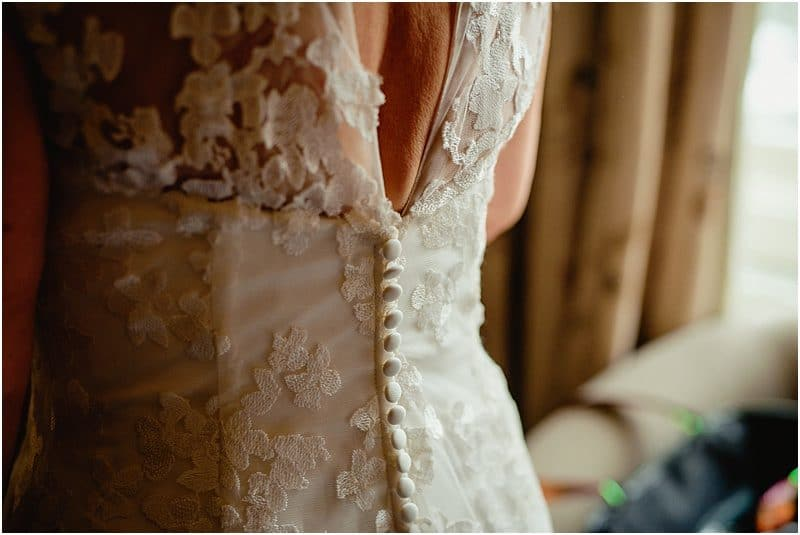 wedding dress detail at a falcon manor wedding